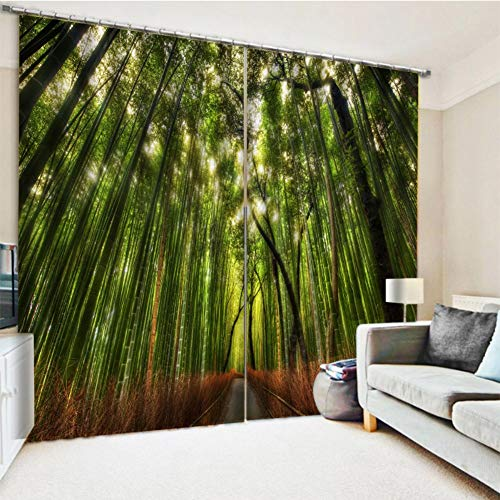 KRWHTS Bamboo Forest in Japan Collection, Panoramic View of Historic Landscape Park Photo Print, Window Treatments, Living Kids Girls Room Curtain 2 Panels Set Green