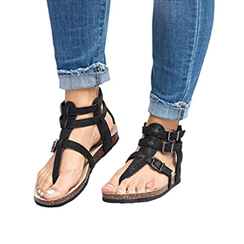 Automne zahuihuiM Mode Femmes Sandales Plat Plage Cross attaché Noir Pantoufles Boucles Cheville Chaussures rqtO6q