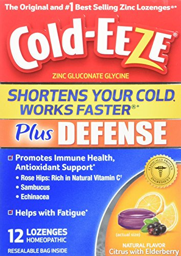 Cold-EEZE Plus Defense Cold-Shortening Lozenges, 12 Count, Cold Remedy, Citrus with Elderberry Flavor, Pharmacist Recommended