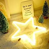 Neon Lights LED Star Signs Light Neon Art Decorative Lights Wall Decor for Children Baby Room Christmas Wedding Party Decoration (warm white)