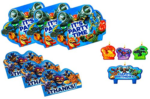 Skylanders Kids Party : 8 Invitations / 8 Thank You Cards / Candle Set. (Skylanders)
