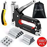 Staple Gun for Wood, Kaqulec 3 in 1 Staple Gun Kit with 3000 Staples and Stapler Remover Adjustable Heavy Duty Stapler for Upholstery Crafts Cable Wire Fixing Material Furniture Decoration