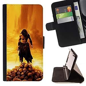 BullDog Case - FOR/Apple Iphone 6 / - / BARBARIAN WAR LORD /- Monedero de cuero de la PU Llevar cubierta de la caja con el ID Credit Card Slots Flip funda de cuer