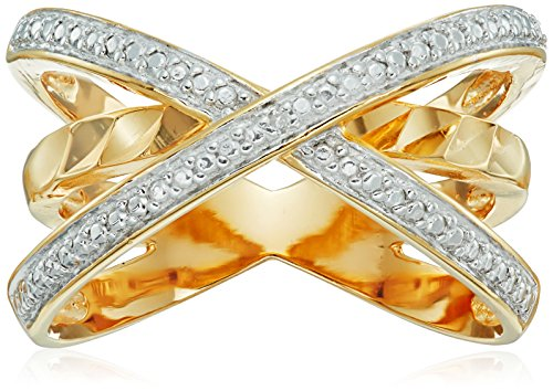 18k Gold Plated Sterling Silver Two Tone Diamond Accent Criss Cross Ring - Diamond Accent Criss Cross Ring