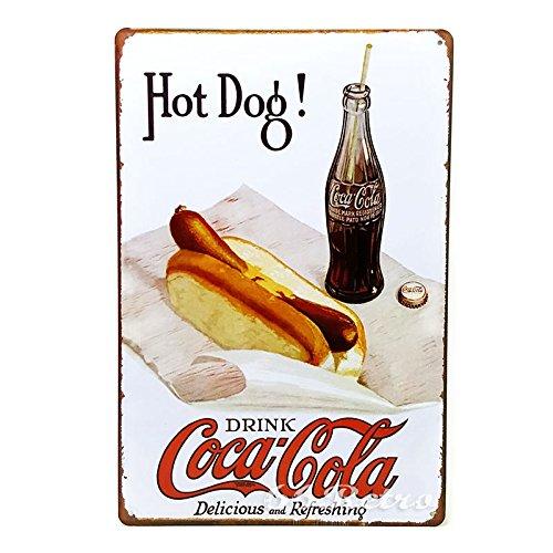 Hot Dog Metal - 66Retro Hot Dog! Drink Coca Cola, Vintage Retro Metal Tin Sign, Wall Decorative Sign, 20cm x 30cm