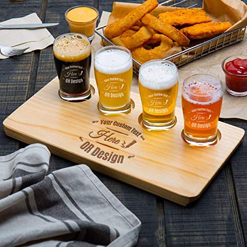 Personalized 4 Core Beer Flight Pub Taster Glasses with 4 Holed Rustic Wood Sampler Tray (Personalized Pub Glasses)