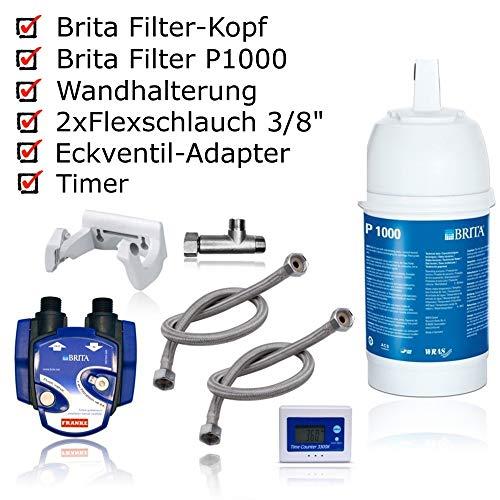 BRITA - Kit para instalacion de Filtro de Agua bajo Lavabo: Cartucho de Filtro P1000, Cabezal de Filtro, indicador de Cambio de Cartucho, mangueras, Adaptador de valvula de Esquina.