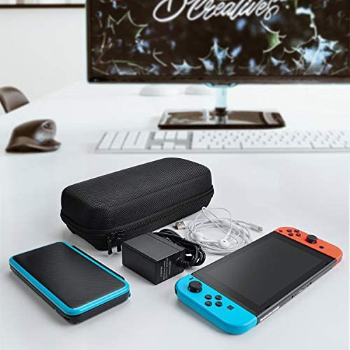 Deruitu Carrying Case for Nintendo Switch - Fit Original Charger AC Adapter - with 20 Game Cartridges Hard Shell Travel Switch Pouch for Nintendo Switch Console & Accessories, Black