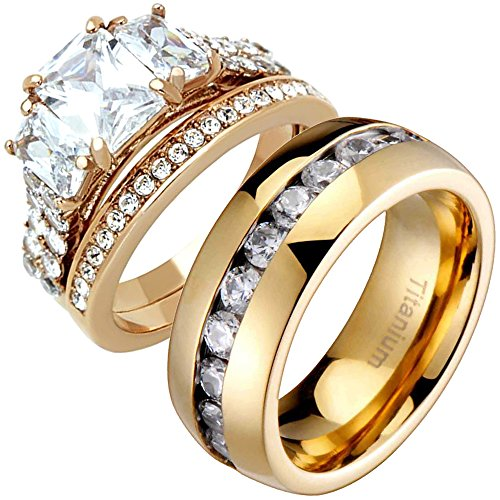 Classy Engagement Ring Set (His Hers Emerald Cubic Zirconia Rose-Gold-Plated & Eternity Band Wedding Engagement Ring Sets TKJ)