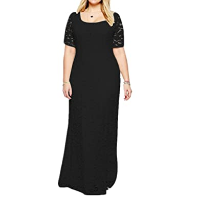Janlyy Womens Wedding Evening Party Full Lace Maxi Plus Size Dress