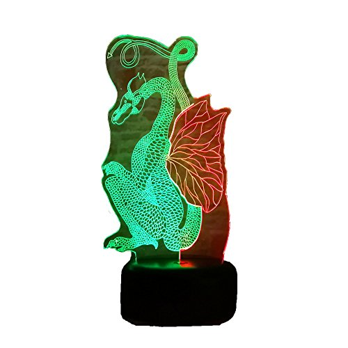 - Hot Chinese Style Paper Cut Flying Dragon Dinosaur Double-Mixed-Colored Amazing 7 Color Dimming Gradient Ancient Dragon Art Home Decor Lamp Gifts for Game of Thrones Fans