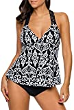 Dokotoo Womens Plus Size Sexy Maternity Printed Race Back Tankini Top Bathing Suits Swimsuit Swimwear 2 Piece Bathing Suit Black 2XL