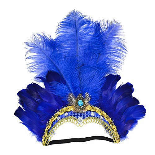 ShiyiUP Masquerade Ball Headwear Belly Dance Feathered Headgear ()