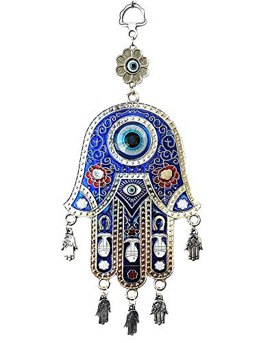 (Betterdecor Blue Evil Eye Hamsa Protection Hanging Decoration Ornament (Gift Pouch))