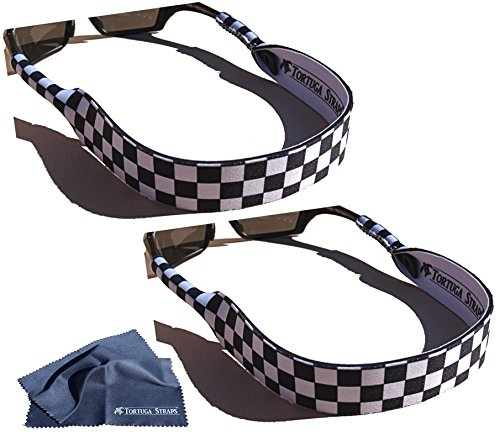 Tortuga Straps FLOATZ by Playa Vida – 2 Pack, BW Checkerboard Adjustable, Neoprene Floating Sunglass Straps and Eyeglass Holder – Fits Small & Over-sized glasses to securely retain on head - Retainer Floating Sunglasses Best