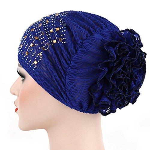 Womail Women Turban Head Cover Wrap Crochet Beanie Warm Bathing Beaded Hat (Blue)