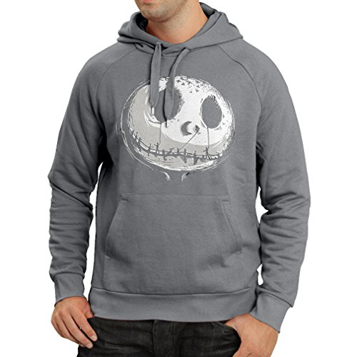 Hoodie Scary Skull Face - Nightmare - Halloween outfit party costumes (Large Graphite Multi Color)