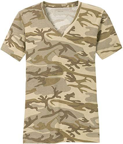 Joe's USA Ladies Camo V-Neck Tees V-Neck T-Shirt-Desert Camouflage-L