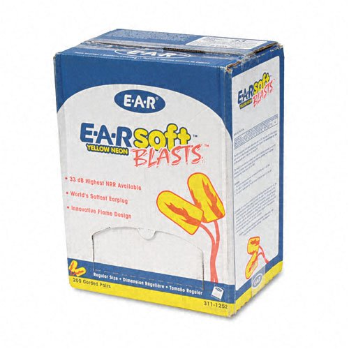 Cabot Ear Plugs (Aearo EAR® E-A-Rsoft Blasts Ear Plugs, Corded, Foam, Yellow Neon, 200 Pairs per Box)
