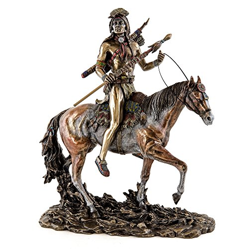 Top Collection 12-Inch Native American Sioux Indian Rider on Horseback Collectible Statue. Premium Cold Cast Bronze. Hand Painted in Stunning Detail. Includes Detachable Spear. (American Poles Indian Totem Native)