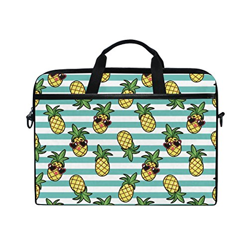 15-Inch Laptop Bag Pineapple and Sunglass Canvas Shoulder Messenger Sleeve Case Tablet Briefcase