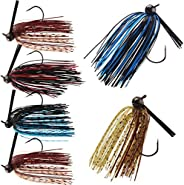 Bass Fishing Jigs Weedless Swim Jigs Flipping Jigs Silicone Skirts Fishing Jigs Head Lures Kit 6pcs/12pcs