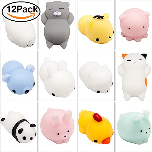 WATINC 12 Pcs Cute Animal Squishy, Kawaii Mini Slow Rising Squeeze Toy,Fidget Hand Toy for Kids Gift,Stress Relief,Decoration,12 (Stress Toys)