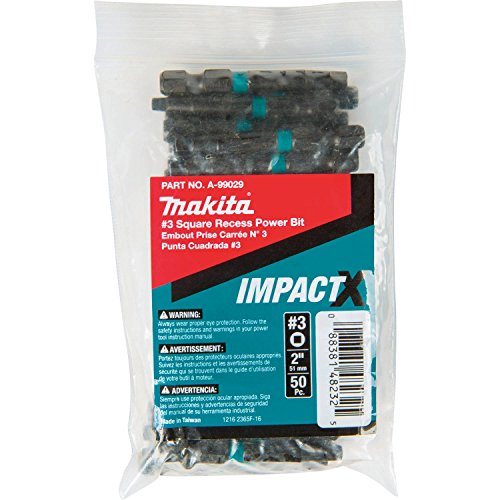 Makita A-99029 Impactx #3 Square Recess 2″ Power Bit, 50 Pack, (3 Square Recess Power Bits)