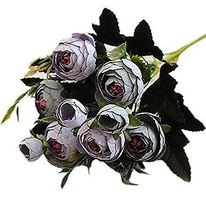 TOPMAX 6 Branch Artificial Flower Roses Camellia Bouquet Kitchen Romantic Vintage Garden Decor 53