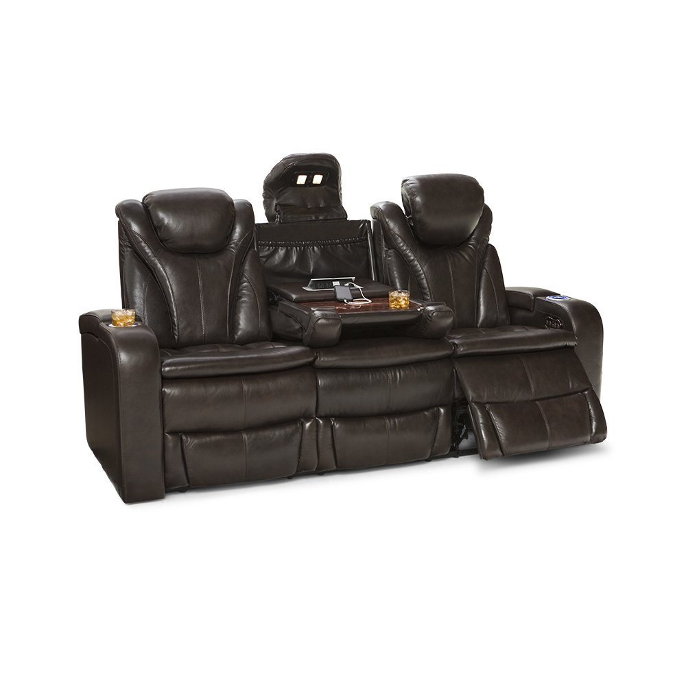 Barcalounger Colima Home Theater Seating Power Recline Multimedia Sofa with Fold-Down Table (Brown)