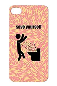 Save Yourself Black LMAO Funny Comic Toilet Funny LOL Meme Comedy Haha ROFL Case For Iphone 4/4s