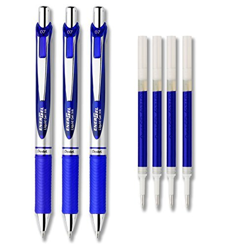 (Pentel EnerGel Deluxe RTX Liquid Gel Ink Pen Set Kit, Pack of 3 with 4 Refills (Blue - 0.7mm))