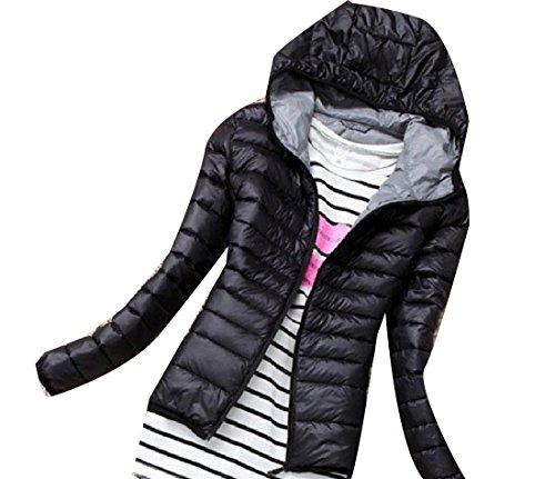 Zipper Vogue Outwear Black Women Long Jacket Hooded Pocket Sleeve Tootlessly xgU4RwqR