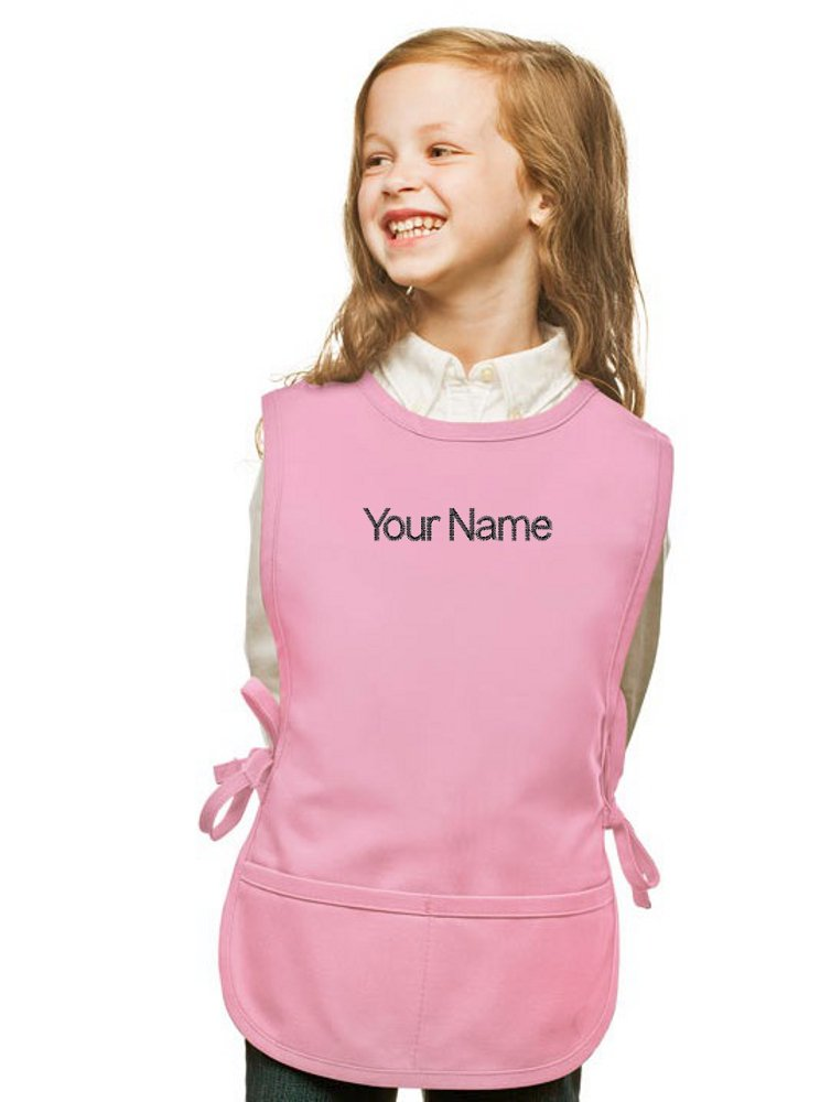 My Little Doc Personalized Pink Kids Cobbler Apron, Poly/Cotton Twill Fabric (Extra Large)