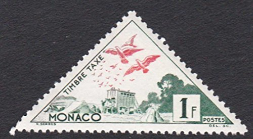 1954 Monaco Carrier Pigeons 1F Triangle Postage Stamp