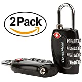 2 Pack TSA Approved Luggage Locks for Travel Safety, Small 4 Digit Combination Padlocks for Suitcases, Lockers & Bags