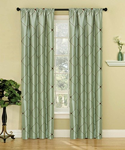 Bednlinens 2 Piece Window Curtain Set Trellis Pattern Embroidery Rod Pocket Panel size 54x84