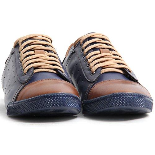 Lace Schuhe Toe Up Sohle Leder Echtes Deko Herren Navy Kappe Trainer qx6EZwzTf