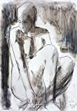 Original charcoal drawing Wall decor Artistic sketch Nude Woman Modern Figurative art