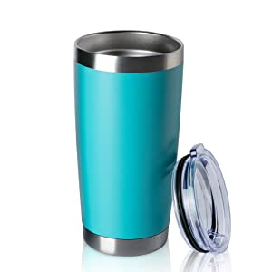 ONEB 20oz Double Wall Vacuum Insulated Travel Mug, Stainless Steel Tumbler with Lid, Durable Powder Coated Insulated Coffee Cup for Cold & Hot Drinks (Light Blue, 1 Pack)