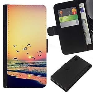 All Phone Most Case / Oferta Especial Cáscara Funda de cuero Monedero Cubierta de proteccion Caso / Wallet Case for Sony Xperia Z1 L39 // naranja puesta de sol del verano del océano gaviota