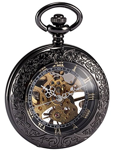 Carrie Hughes Vintage Gothic Steampunk Skeleton Mechanical Pocket Watch with Chain for Men Woman (Black - Pocket Chain Up With Watch Wind