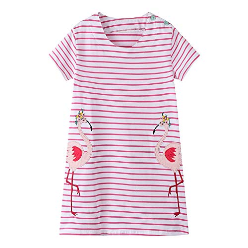 (Eocom Little Girls Soft Summer Cotton Short Sleeve Dresses T-Shirt Casual Cartoon Dress (Pink Flamingo, 7T))