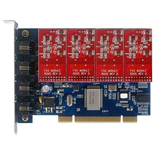 Quad Span FXO Card with 4 FXO Ports,Analog Asterisk Card PCI Supports Freepbx Issabel Dahdi for VoIP PBX Appliance