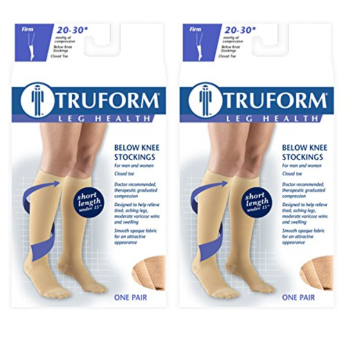 Truform Compression 20-30 mmHg Knee High Stockings Beige, Large - Short, 2 Count ()