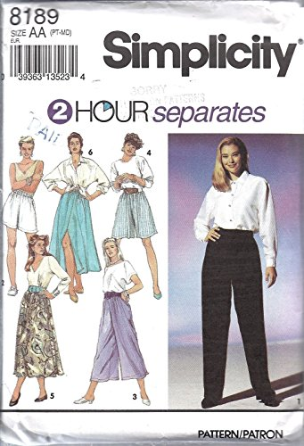 Simplicity #8189 Misses 2 HR Split Skirt Pants Short Sewing Pattern Size PT - MD