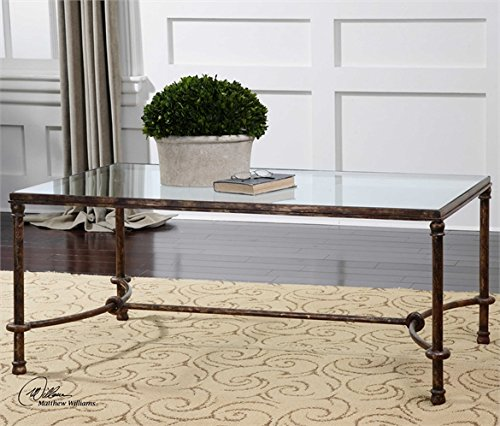 Ambient Inspired By Ancient Horse Bridles, This Coffee Table Of Forged Iron Is A Blending Of Rings And Curves Finished In Rustic Bronze Patina The Top Is Made Of Clear, Tempered Glass Coffee Tables (Inspired Bridle)