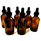 Refillable Tinted Bottle with Glass Dropper (2 Oz (6 pack), Amber)