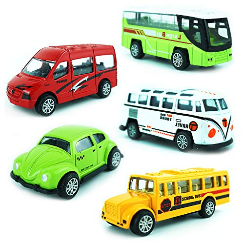 (CORPER TOYS Die Cast Metal Toy Bus Pull Back Car Mini School Bus Tour Bus Play Set Gift Pack for Kids - Set of 5 )