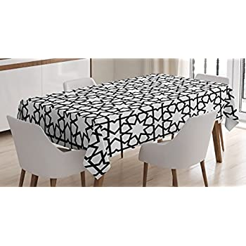 Moroccan Decor Tablecloth by Ambesonne, Moroccan Style Mosaic Ornament Geometric Patterns Classic Decorative Art Print, Dining Room Kitchen Rectangular Table Cover, 52 X 70 Inches, Black White